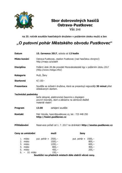 Propozice pohárové soutěže Pustkovec
